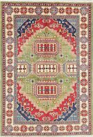 Oriental Kazak Wool Rug Hand-Knotted Geometric Foyer Carpet 3 x 5 GREEN