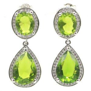 SheCrown Charming Green Peridot White CZ Bride Wedding Silver Earrings