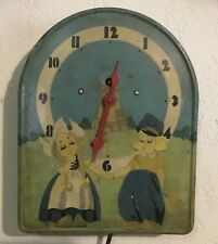 Tin Litho Animated Windmill Wall Clock With Dutch Boy and Girl