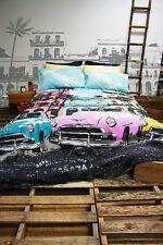 Retro Havana Aqua Vintage Cars  Quilt Doona Cover Set - SINGLE DOUBLE QUEEN KING