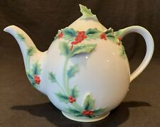 Franz Collection Holly Berries Porcelain Teapot and Lid Christmas Holiday Raised