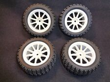 RC Truck Tires CEN Block Tires (ff030) and Wheels Set of 4 12mm Mount LOSI  NEW