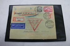 "Vintage 1933 German Stamped Brown Envelope Mit LuftSchiff ""GrafZeppelin"""