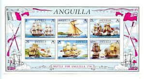Anguilla MNH #264a Souv Sheet Battle for Anguilla Sailing Ships 1976 A299