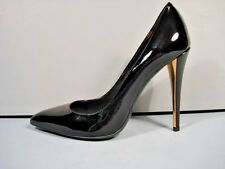 YVES SAINT LAURENT YSL 39/8.5 CLARA BLACK LEATHER 2 TONE HEEL POINTY TOE PUMPS