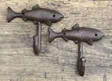 Pair of Brown-Tone Cast Iron Fish Vintage Nautical Wall Hooks