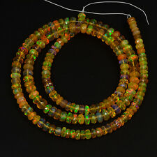 "4mm-4.8mm Fine Ethiopian Welo Opal  Faceted Rondelle Beads 17.5"" Strand"