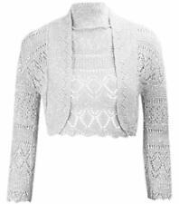 Ladies Girls Crochet Metallic Lurex Cropped Bolero Shrug Short Cardigan Siz 8-14