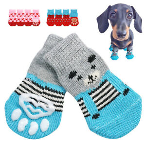 Paw Socks for Small Large Dogs Knitted Cotton Non Slip Pet Puppy Shoes Blue Pink