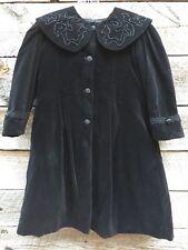 Vtg NANOOK Black Victorian Velvet Christmas Holiday Girls Coat Beaded Sz 5