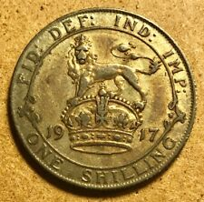 GREAT BRITAIN - George V - Shilling - 1917 - Extra Fine - Prooflike Fields!
