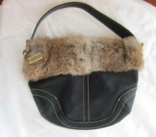 Coach Black Nylon Purse Bag with Real Rabbit Fur~Clean !