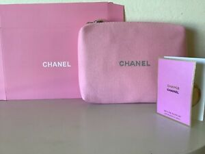 NEW CHANEL PINK FABRIC MAKEUP CASE