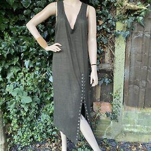 IRO Sleeveless Brown Linen Karossi Lace Up Boho Dress Medium Chest 42