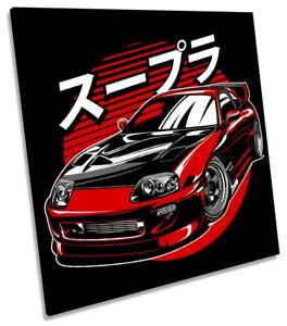 Toyota Supra Car Picture CANVAS WALL ART Square Print Red