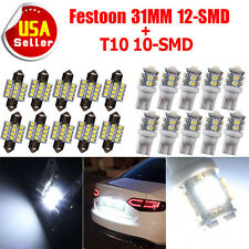 20x Pure White 31MM Festoon + T10 LED License Plate Map Dome Interior Light Bulb