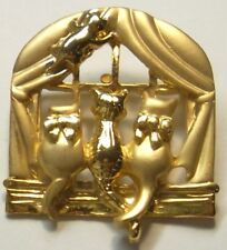 Cat Jewelry Brooch Pin 4 Cats Looking Out Window SIGNED by AJC Gold Plate NEW