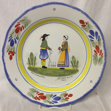 "HENRIOT QUIMPER MAN & WOMAN WALL DINNER PLATE 10 1/4"" FRANCE FLORAL DURR 1998"