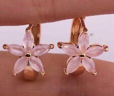 18K Yellow Gold Filled - Cat Eyes Opal Pink Topaz Flower Clover Hoop Earrings