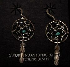 Native American Navajo Earrings - Turquoise - Sterling - Dream Catcher