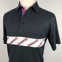Vintage London Fog Polo Shirt Large Color Block Black Pink White Purple 80s 90s