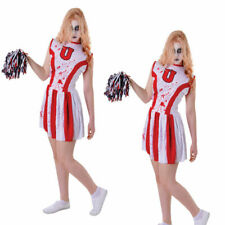 TEENAGE sanguinoso Zombie Costume Cheerleader /& Pom Poms HALLOWEEN FANCY DRESS XXL