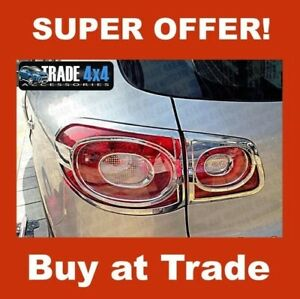 VW TIGUAN REAR LIGHT COVERS SURROUNDS TRIMS 2007-10 ABS CHROME TAIL LIGHT COVERS