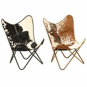 vidaXL STYLISH CHAIR Leather Butterfly Chair Cowhide Leather Hair On Black/White