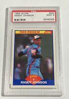1989 SCORE RANDY JOHNSON ROOKIE CARD RC #645 EXPOS PSA 9 MINT (DR)