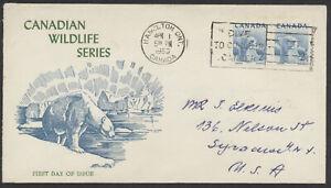 1953 #322 2c Polar Bear Wildlife FDC, Unusual Green Text Jacobi Cachet, Hamilton