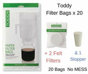 Toddy Cold Brew System Paper Filter Bags x 20+2 Felt Filters & Stopper SEE VIDEO