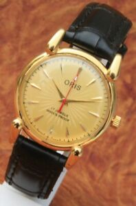 Antique Vintage Swiss Watch 17Jewels FHF ST96 HAND WINDING Golden Dial Men's