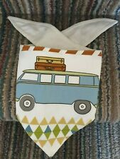 "Handmade Dog Bandana , 12"" Collar,  Campervan Blue/Cream/Multi Lined - NEW"