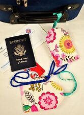 """hand crafted fabric luggage tags set of 2 secure info 3.5"""" X 5.5"""" floral & dots!"""