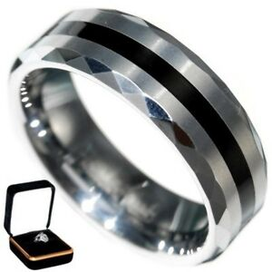 0.8MM BLACK RESIN MULTI-FACETED TUNGSTEN CARBIDE RING BAND size 12 w/ BOX