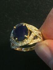 WOMENS 14k GOLD 6.25 ct SAPPHIRE & DIAMOND Ring Size 7