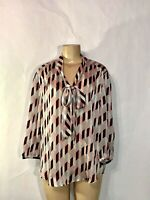 NYC NEW YORK & CO PINK STRIPE PRINT LONG SLEEVE TIE AT NECK POLY CREPE BLOUSE XL