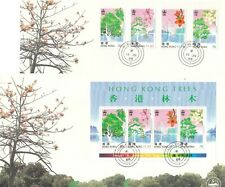 "H. K.1988, ""TREES"" S//S + STAMP SET ON 2 #0035 CHINA PHILATELIC ASSOCIATION FDC"