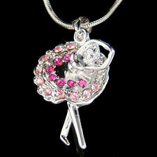 ~Pink BALLERINA~ made with Swarovski Crystal Ballet Dancer Teacher Necklace Xmas