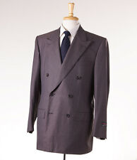 NWT $3995 D'AVENZA Gray-Cocoa Brown Stripe Super 120s Wool Suit 42 R Handmade