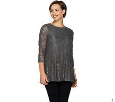 Joan Rivers Lace Tunic with 3/4 Sleeves-Gray-XL-NEW