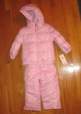 BABY GIRLS PINK WEATHER PROOF TWO PIECE SNOWSUIT SNOW SUIT ORG. $60 12 MOS BNWT