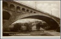 Plauen Vogtland Sachsen Postkarte 1930/40 Partie an der Friedrich August Brücke