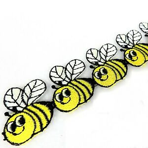 Bumble Bee Trim   Sew-On Applique Motif Craft Trimming   35mm   By The Metre