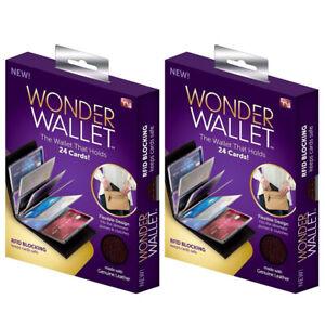 2pcs Original Wonder Wallet Amazing Slim RFID Wallet As Seen on TV Black Leather