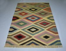 Geometric Colorful Cotton Kilim Rug Handmade 4x6 Feet Home & Office Decor Rug