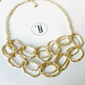 UK Ladies Designer Gold Statement Cluster Circles Bib Necklace Jewellery Gift