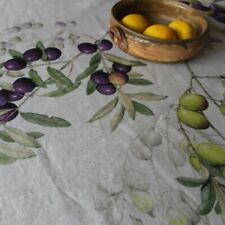 Stunning 100% Italian Linen Tablecloth - Olives - 210cm x 140cm. Suit 6 seater