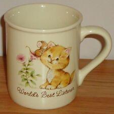 """Vintage Hallmark WORLD'S BEST LISTENER Kitten & Mouse ceramic MUG Japan 3.5""""H"""