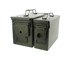 30 and 50 Cal Metal Gun Ammo Can 2-Pack – Military Steel Box Set Ammo Storage